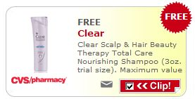 CVS: FREE 3oz. Clear Scalp & Hair Beauty Therapy Shampoo Coupon!