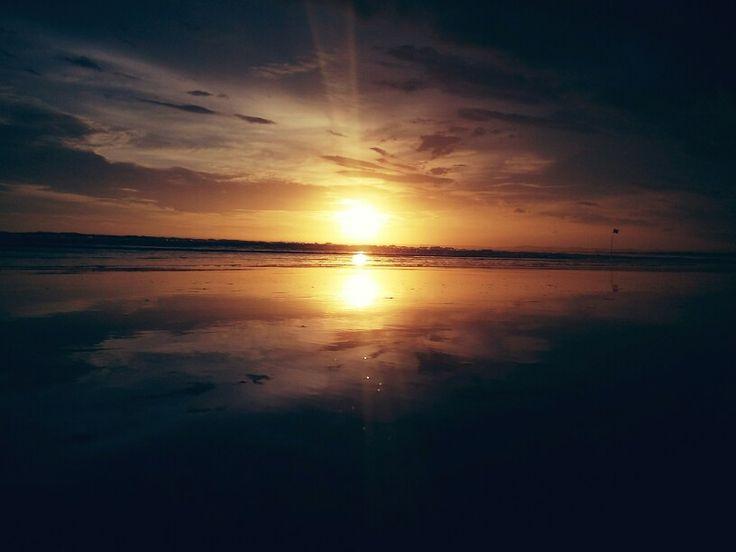 sunset at pangandaran beach, west java, indonesia
