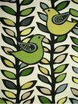 $17.99 per yard! Scandinavian Retro Modern Folk Art Bird Leaves Black Trees Branches Linen Texture Heavy Cotton Fabric Drapery Fabric LHD116...