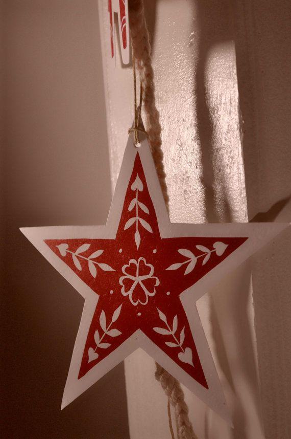 Scandinavian Folk Art Block Print Christmas Ornaments by sappling, $17.99