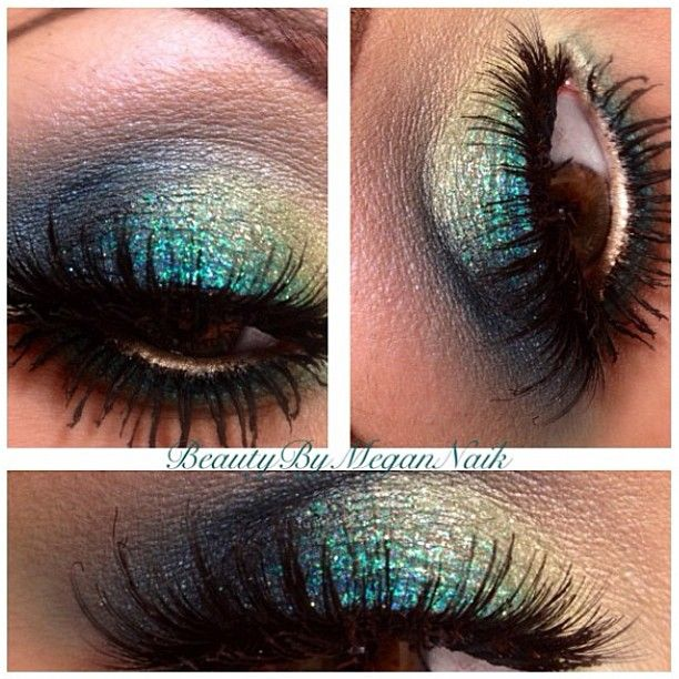 """Our favorite Peacock inspired makeup look! This look was created by the talented @beautybymegannaik - lashes are #houseoflashes """"noir fairy"""" #beautybymegannaik #noirfairy #noirfairylashes #lashes #peacock - @houseoflashes- #webstagram"""