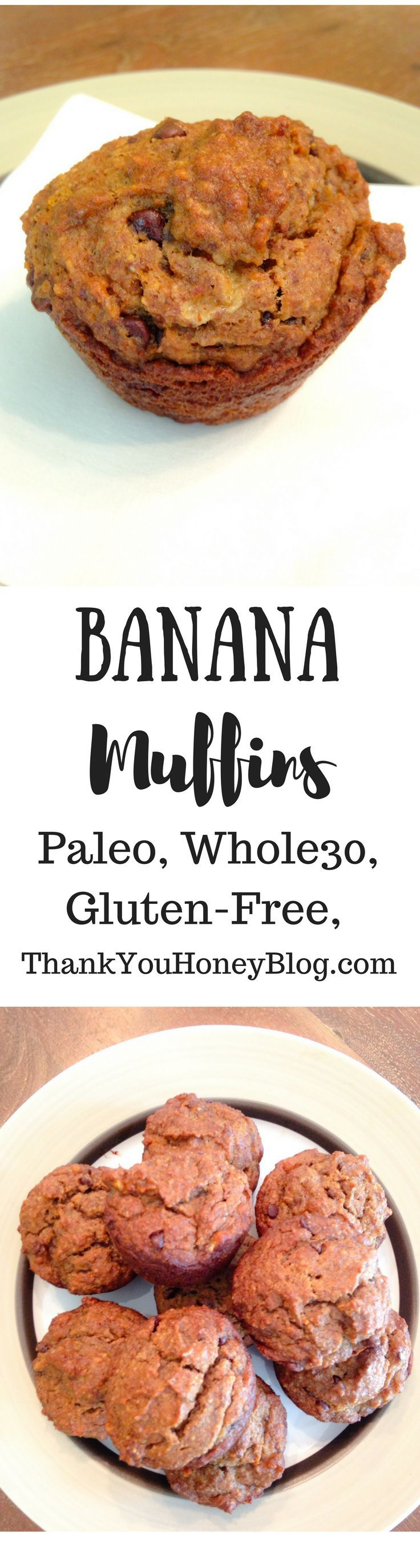 Click through & PIN IT to read later & Follow + Subscribe! Banana Muffins, Paleo, Gluten- Free, Grain- Free, Healthy, Banana, Simple Recipe, Breakfast, Brunch, Recipe, Paleo Recipe, Snack, Muffins, Whole 30, Easy Recipe,