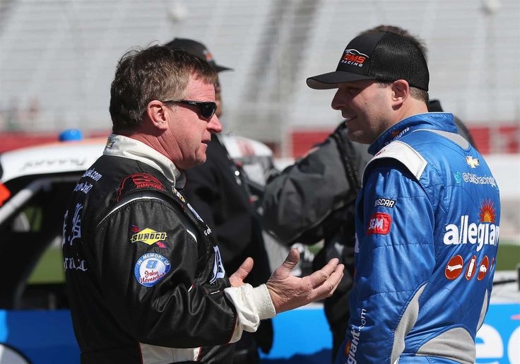 At-track photos: Atlanta triple header weekend  Sunday, March 5, 2017  Joe Nemechek, driver of the No. 87 D.A.B. Constructors Inc Chevrolet, speaks with Johnny Sauter, driver of the No. 21 Allegiant Travel Chevrolet, on the grid during qualifying for the NASCAR Camping World Truck Series Active Pest Control 200 at Atlanta Motor Speedway on Saturday.  Photo Credit: Getty Images  Photo: 22 / 58
