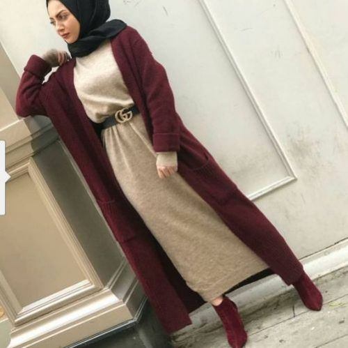 long maroon cardigan with long dress-Hijabi street style – Just Trendy Girls