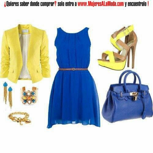 Www.mujeresalamoda.com: Date Night, Colors Combos, Yellow Outfits, Blue Dresses, Cobalt Blue, Electric Blue Dresses, Classy Outfits, Independence Day, Yellow Blazers