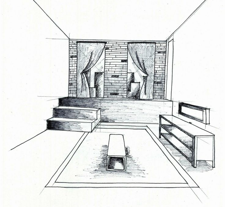 Bedroom One Point Perspective Bedroom Interior Paint Bedroom Chairs With Footstool Bedroom Paint Colours Blue: 1 Point Of View Room In Drawing