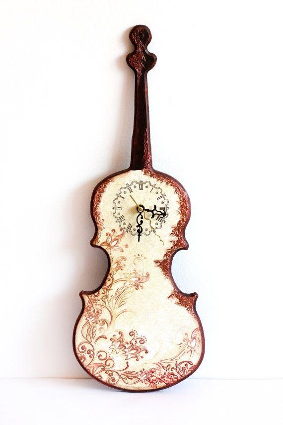 Violin Wall Clock, Copper Flower Swirls, Melody Summer Decor, Rustic brown, Violin for the Music Lover, Dorm Decor ohtteam