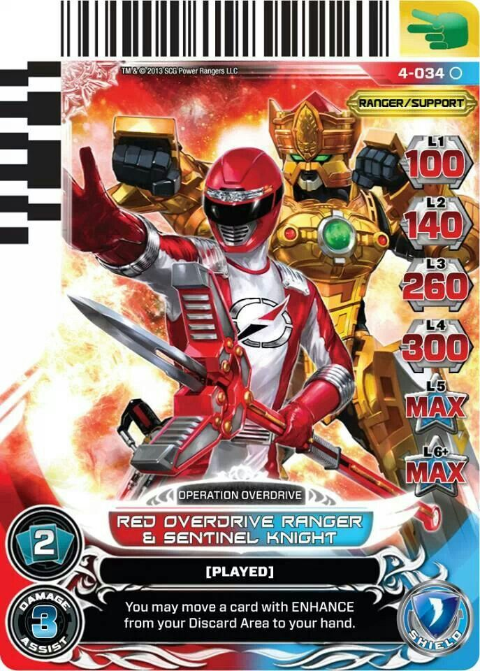 Red Overdrive Ranger and Sentinel Knight power rangers trading card