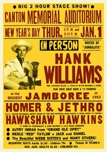 1950's music posters | Hank Williams 1950s Jamboree Concert Poster - Country Music - Mr ...
