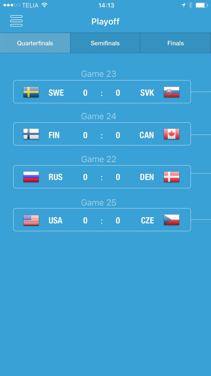 Playoff tree UI #iihf #wjc #hockey #ui #ux