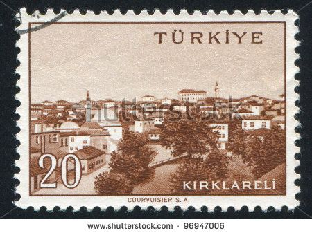 TURKEY - CIRCA 1959: stamp printed by Turkey, shows Turkish city, Kirklareli, circa 1959. - stock photo
