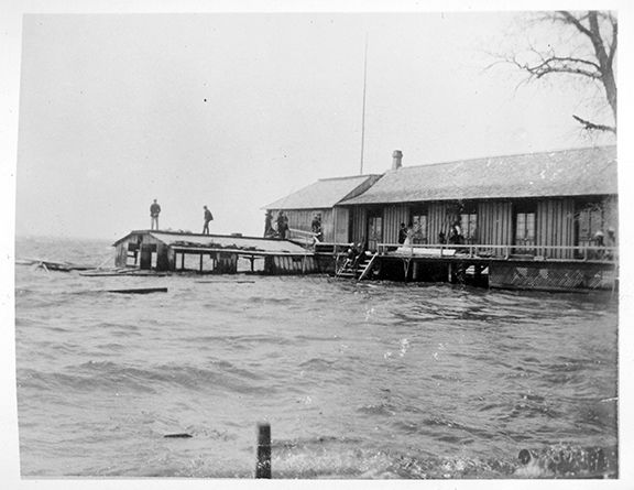 [ca. 1893] Physical Description:	1 photograph : b&w ; 10 x 8 cm Scope & Content:	Item consists of a copy of a photograph of the flood waters at Britannia showing Jamieson's Mill with sides knocked out of boathouse from storm of May 22, 1893.  Search | Ottawa Museums & Archives Collection