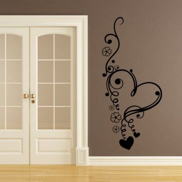 Floral Love Heart Flowers Wall Art Sticker Wall Decal - Love Hearts - Home & Living