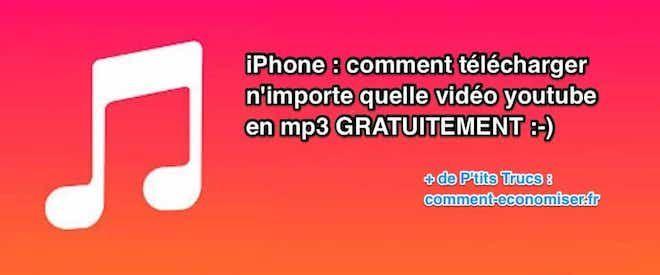 Vous aimez écouter la musique sur votre iPhone ? Alors, que diriez-vous de pouvoir télécharger n'importe quelle vidéo YouTube en MP3 ? Et bien, sachez que c'est possible et en plus c'est gratuit !  Découvrez l'astuce ici : http://www.comment-economiser.fr/iphone-comment-telecharger-video-youtube-en-mp3-gratuitement.html?utm_content=buffer74422&utm_medium=social&utm_source=pinterest.com&utm_campaign=buffer