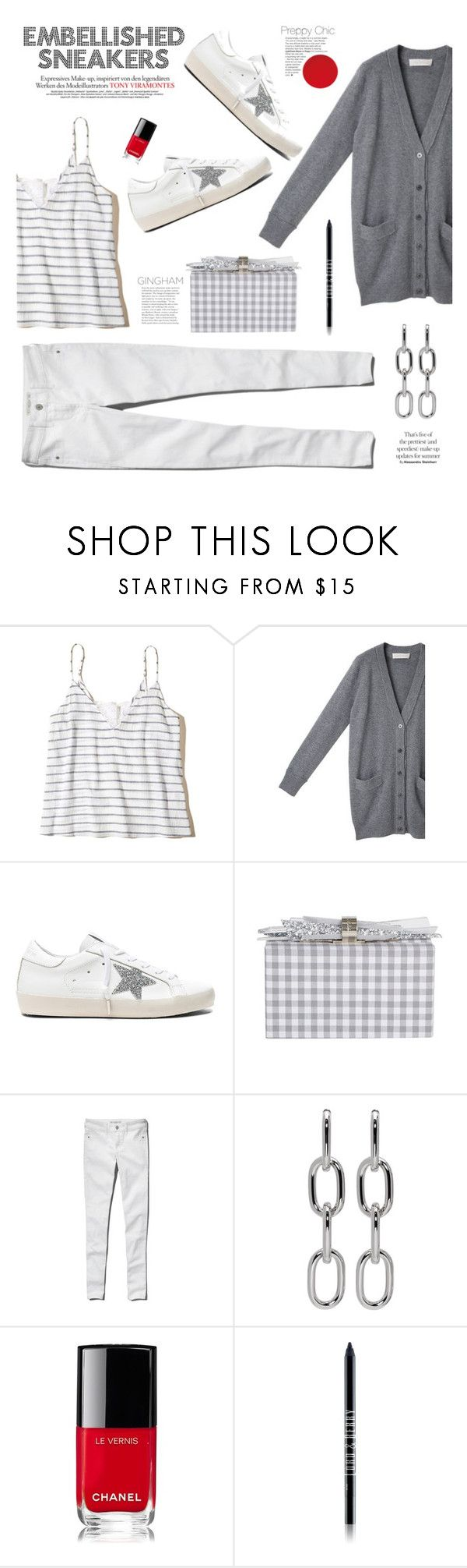 """""""Embellished Sneakers"""" by barngirl ❤ liked on Polyvore featuring Hollister Co., Cacharel, Golden Goose, Edie Parker, Abercrombie & Fitch, Alexander Wang, Chanel and Lord & Berry"""