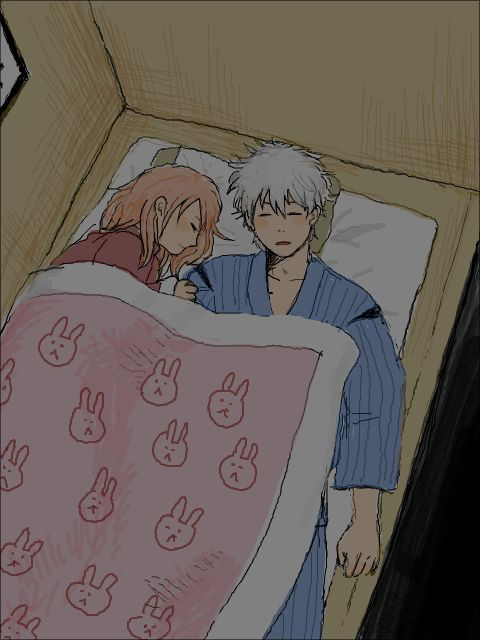 gin, gintama, and ginkagu image . . Kyaaa..~≧▽≦y sleeping together..