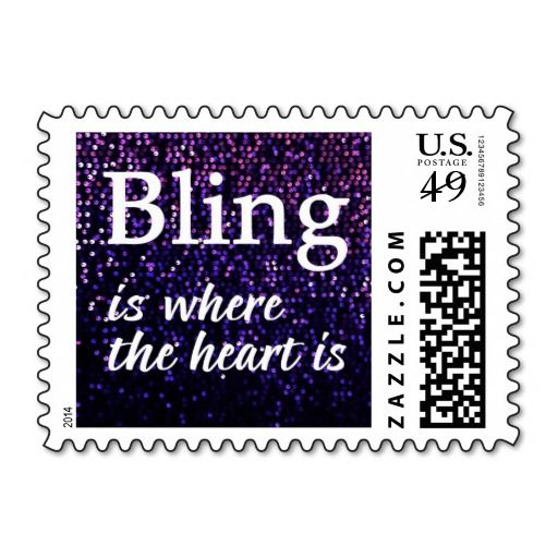 """""""Bling Is Where The Heart Is"""" Purple Sequin Postage Stamps. #Bling #stamps #purple"""