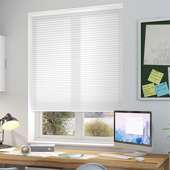 DuoLight Cordless Bright White Thermal Blind. Thermal insulation to keep the heat in, and cordless for child safety. Need to be able to reach top of window though.