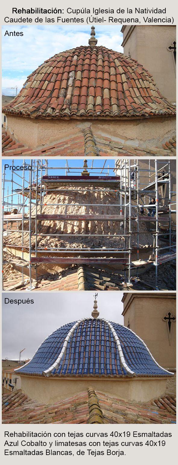 El templo, dedicado a la Natividad de Nuestra Señora, se comenzó a construir en 1731 y fué consagrado en 1735. La rehabilitación de la cupúla fue realizada utilizando tejas curvas 40x19 Esmaltadas Azul Cobalto y limatesas con tejas curvas 40x19 Esmaltadas Blancas, de Tejas Borja.