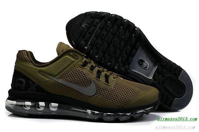 2013 Nike Air Maxes Mens Black Army Green For Sale 555363 309