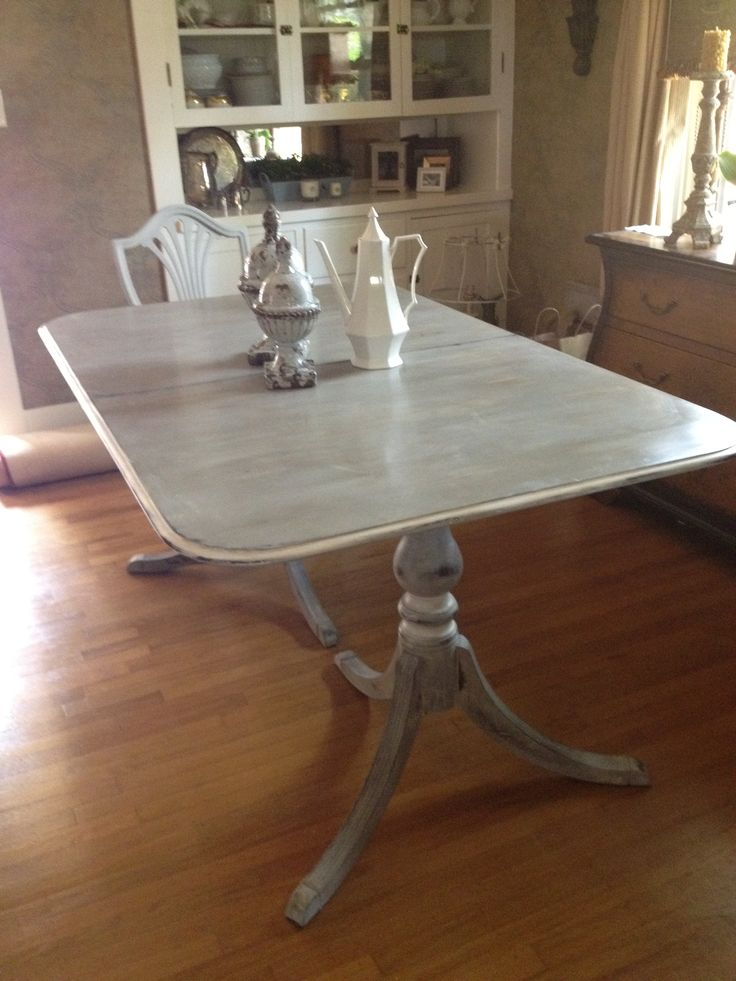 Sis And I ASCP Chalk Painted Her Dining Room Table And Chairs Paris Gray Wit