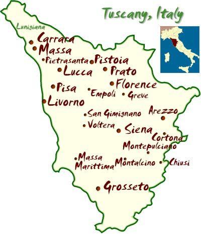 Tuscany Map and Travel Guide --Maremma, Tuscany  -Arezzo - -Certaldo Alto-Chianti Wine and Travel -Cortona - Tuscany -Garfagnana - Hidden Tuscany -Lucca =-Lunigiana - Hidden Tuscany -Maremma - Southern Tuscany - -Monte San Savino-Montecatini -Montepulciano -Pienza- Pisa- San Gimignano -Siena,-     Versilia , Tuscany Coast -Viareggio -Volterra .