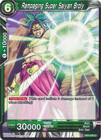 rampaging Super Saiyan Broly Dragonball trading cards bt1-075