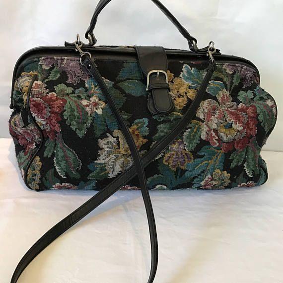 Large Jacquard Floral Carpet Bag Satchel Carry All Travel Bag