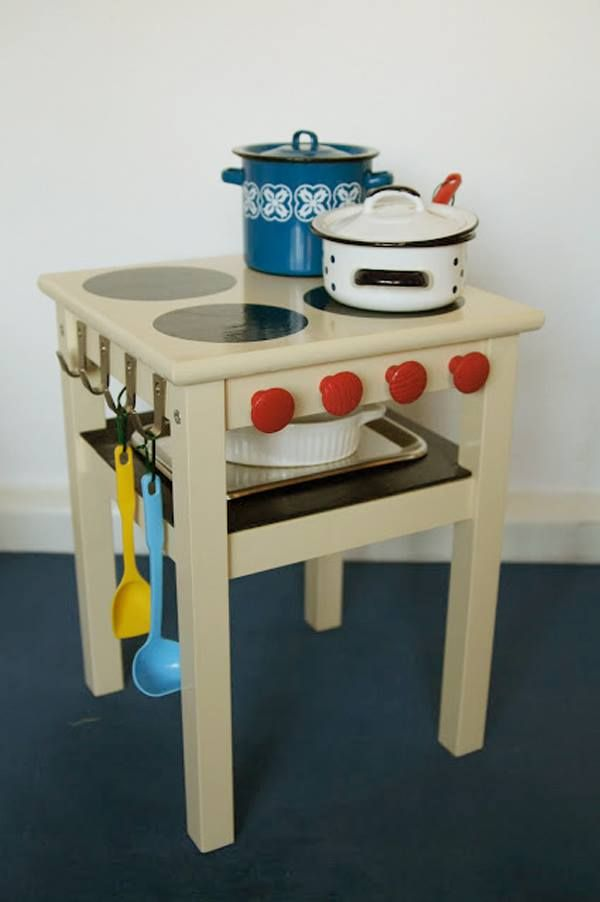 ikea hack - upcycle a stool to a kids play kitchen.