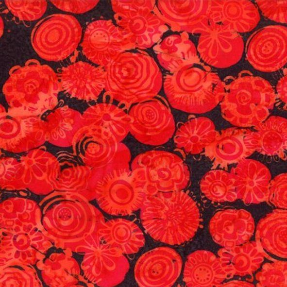 Bavlněná látka Batika Bali květy červené na černé BB