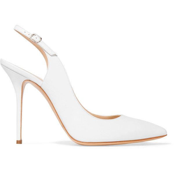 Casadei Leather pumps (€190) ❤ liked on Polyvore featuring shoes, pumps, white, white leather pumps, white high heel shoes, white shoes, slingback pumps and high heel pumps