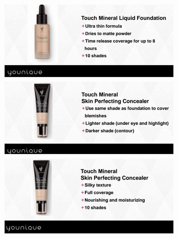 Our all new Mineral Liquid Foundation is an ultra thin, skin perfectin' formula! A true liquid to powder matte finish with optical diffusers to help blur imperfections & fine lines. It's also available in 10 shades to fit every skin tone! Mineral skin perfectin' concealer is lightweight with FULL COVERAGE & flawless satin finish. It has a high concentration of pigments, is water resistant, & super long lastin'! Younique is seriously goin' ALL OUT with these new products!