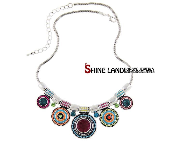 Gargantilha Colar Moda Étnica Collares vintage colorido Colar apelativo Bead Pendant para mulheres Jóias