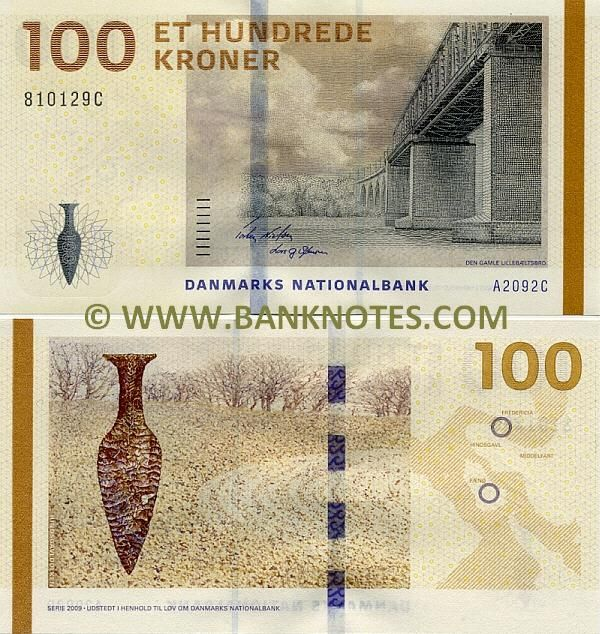 Denmark 100 Kroner 2009 Front: The Old Little Belt Bridge, linking Erritsø in Jutland to Middelfart on Funen (Fyn) (1935-), is 1178 metres long. Back: The Hindsgavl Dagger, a Stone Age dagger from the latter part of the Dagger Period, 1900-1700 BC; The now famous locations marked on the map of northern Denmark. Designer: Artist Karin Birgitte Lund. Watermark: 100; Front of a Viking ship. Date of Issue: 4 May 2010. Printer: Danmarks Nationalbank's Banknote Printing Works.