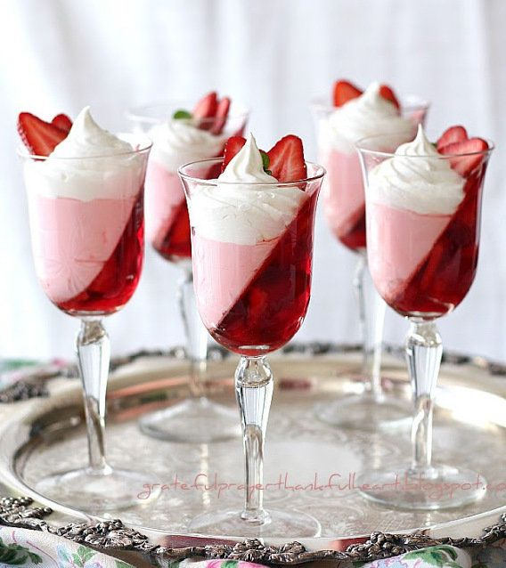 Recipe for JellO Strawberry Parfait - Looking for a dessert that is light and pretty and won't harm your waistline?