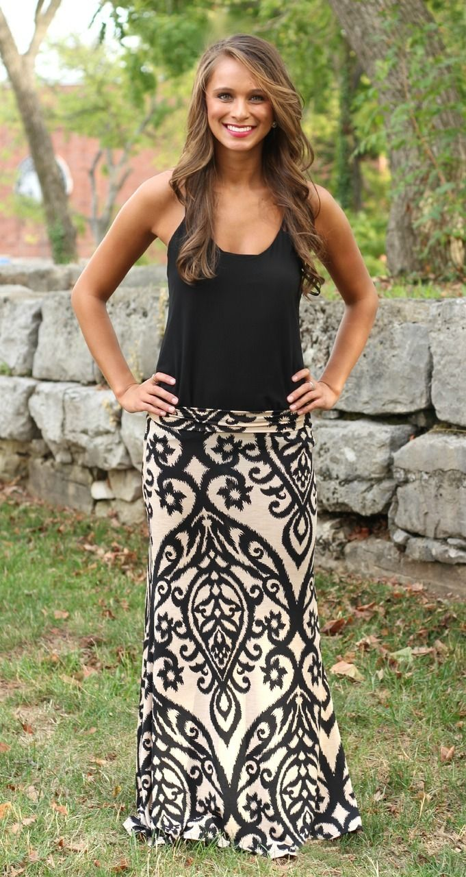 The Pink Lily Boutique - Oatmeal Damask Maxi Skirt, $32.00 (http://www.thepinklilyboutique.com/oatmeal-damask-maxi-skirt/)