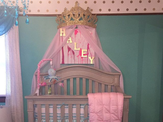 3d Princess Crown Canopy Includes Sheers Available In An Assortment Of Colors For Any Themed Event Or For Y Crown Wall Decor Baby Crib Canopy Princess Nursery