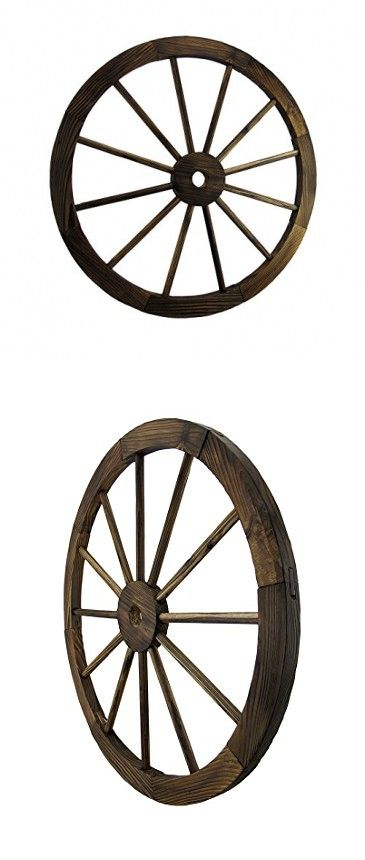 Wooden Wagon Wheel Decorative Wall Hanging Room Decor by Zeckos