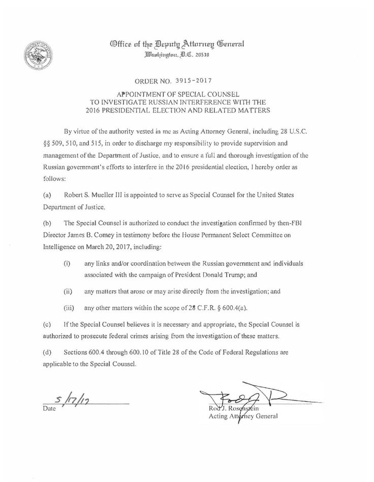 Appointment of Special Counsel to Investigate Russian Interference with the 2016 Presidential Election and Related Matters