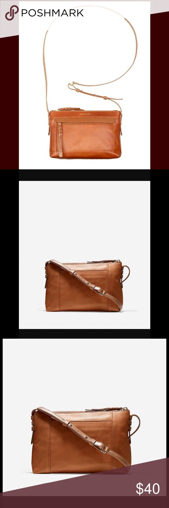 """Cole Hahn Felicity Brown Leather Crossbody Bag Top Zip Crossbody Leather. Rich brown tan color. Gold Leather hardware. 10.5""""x6.75""""x3"""" Cole Haan Bags Crossbody Bags"""