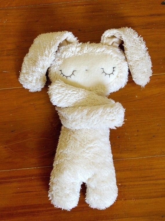 Schlaf (Sleep): Handmade of fluffy cotton with a wool felt face. Perfect for a hug! $36.