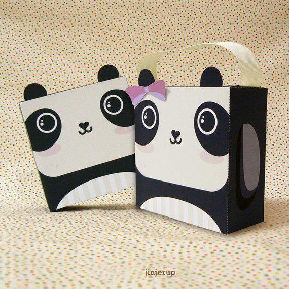 Panda mignon boîte cadeau imprimable PDF