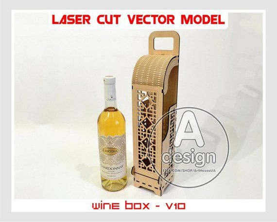 Wine box, Wood wine box, Plywood wine box, Vine box, Wine gift box, wine holder, Laser cut vector plan, Instant download, Cnc file, WBox-10