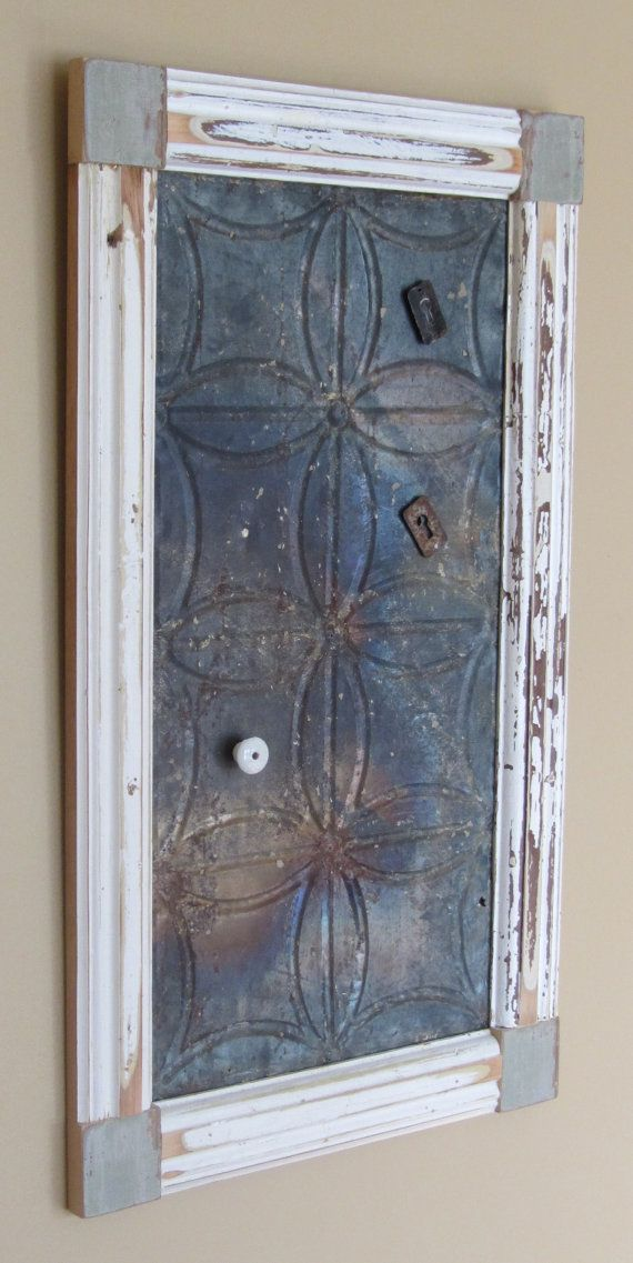 Magnet board made from reclaimed wood and ceiling tin