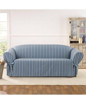 Sure Fit Grainsack Stripe Sofa Slipcover | macys.com
