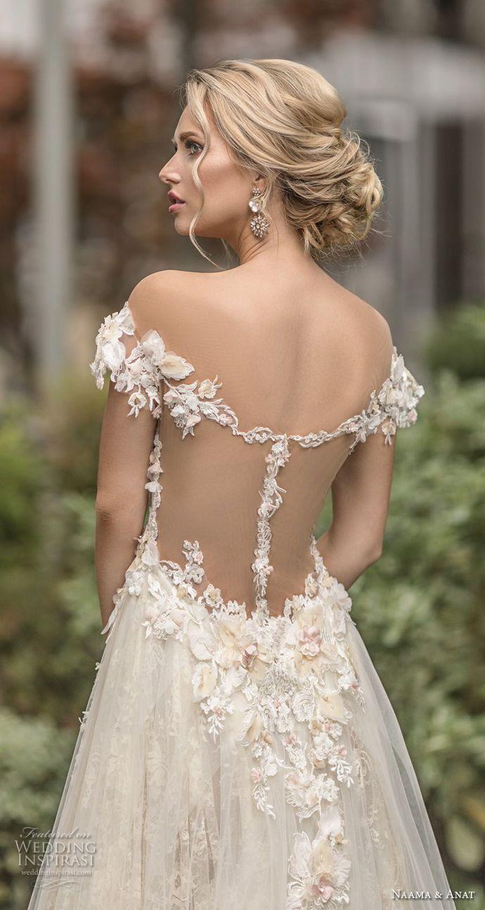 naama anat spring 2019 bridal off the shoulder deep plunging sweetheart neckline…