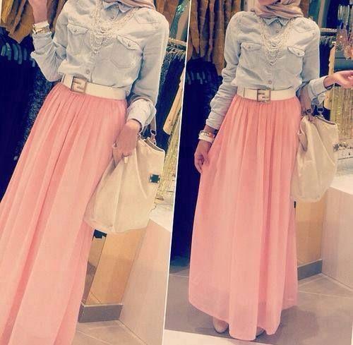 Peach maxi skirt and denim shirt