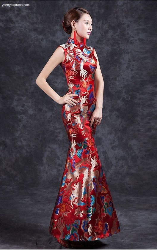 Traditional Chinese fashion Dragon & Phoenix Sequined Chinese Wedding Mermaid Qipao Gown