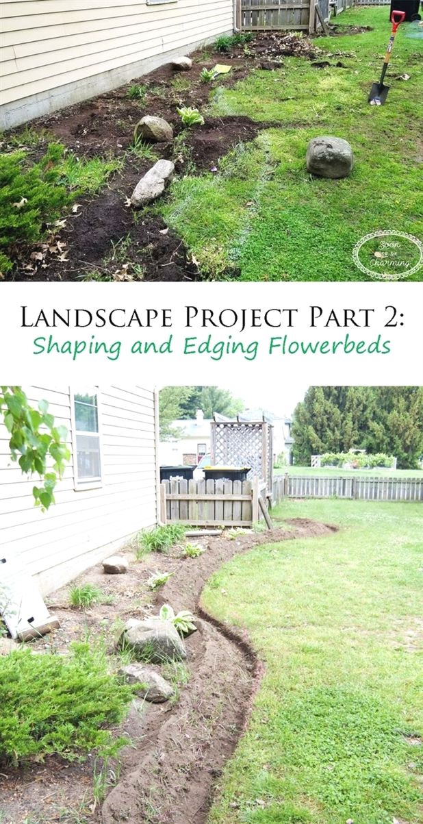 Landscape Project Part 2 Shaping And Edging The Flowerbeds Landscape Projects Landscape Plans Landscaping With Rocks