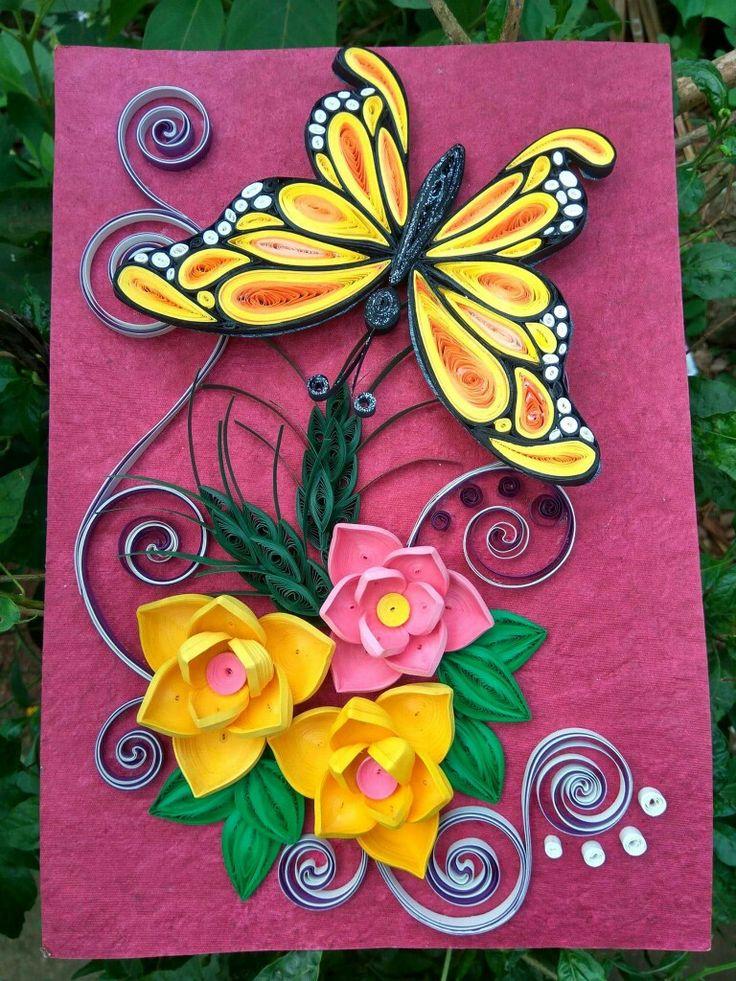 Открытка из квиллинга бабочку, картинки